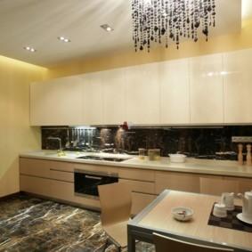 кухня с темным полом фото идеи