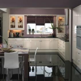 кухня с темным полом фото интерьера