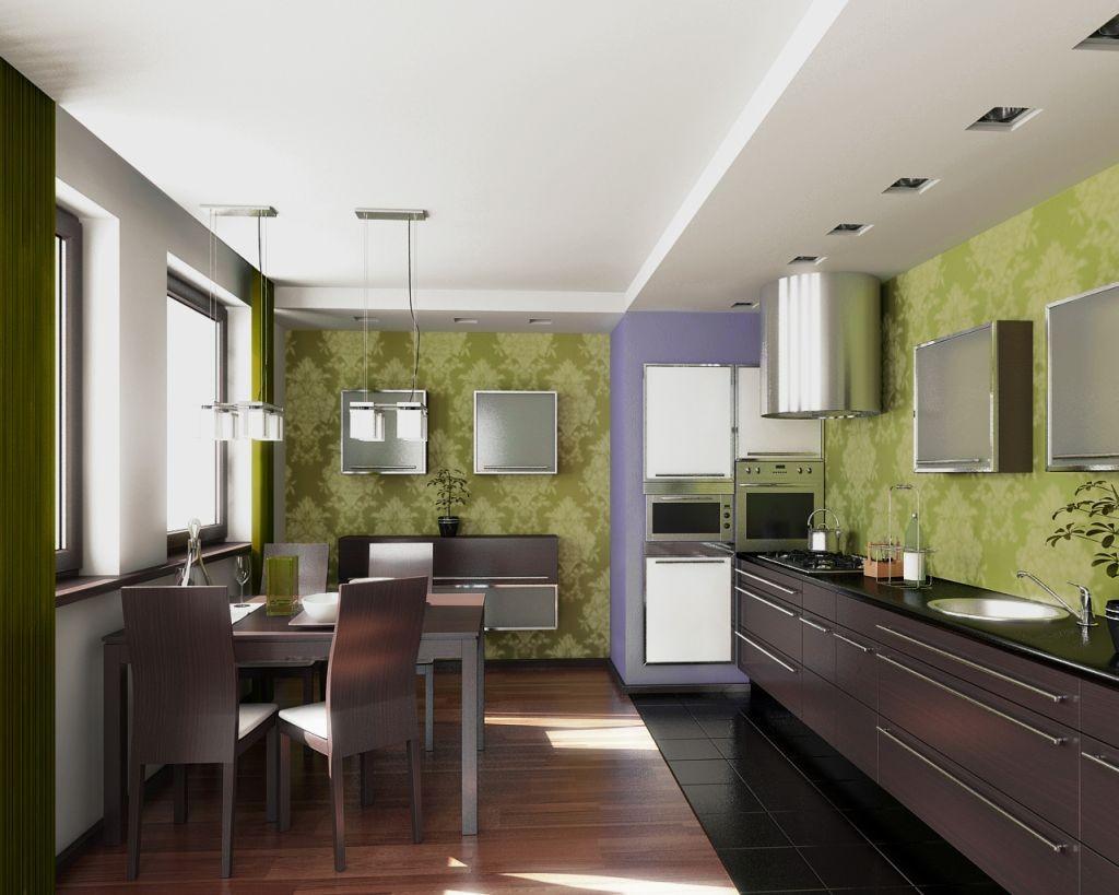 кухня с темным полом идеи декора