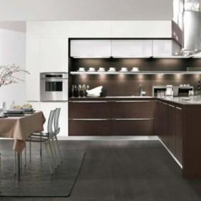 кухня с темным полом идеи дизайн