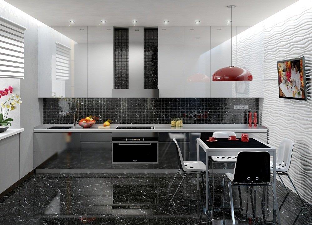 кухня с темным полом идеи