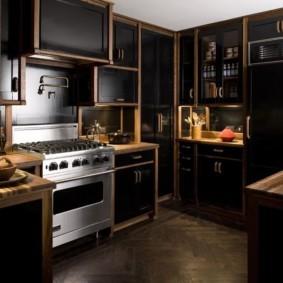 кухня с темным полом интерьер идеи