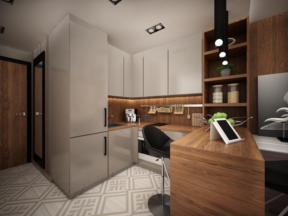 Организация кухни в однокомнатной квартире студии