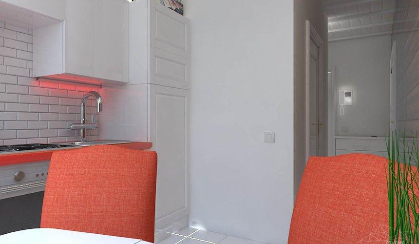 Яркие спинки стульев на кухне в стиле минимализма