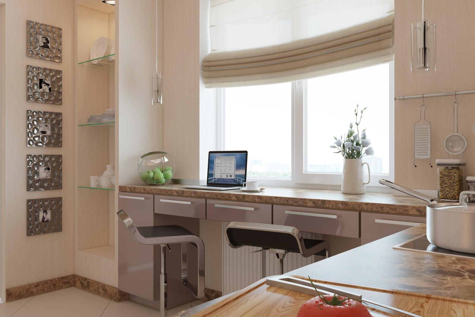кухня с окном и барной стойкой