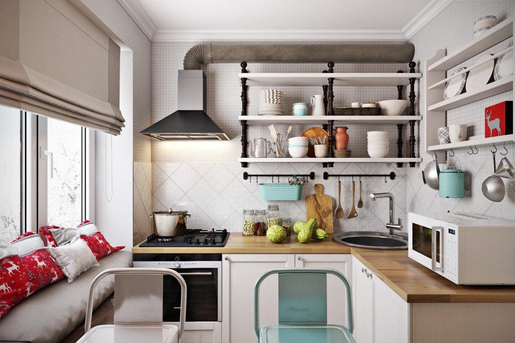 кухня с окном и диваном
