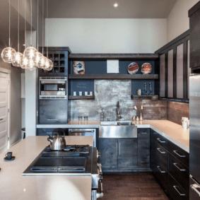 кухня с темным полом дизайн фото