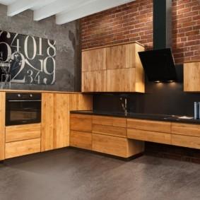 кухня с темным полом дизайн идеи