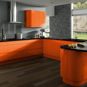 кухня с темным полом фото оформление