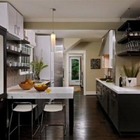 кухня с темным полом идеи оформление