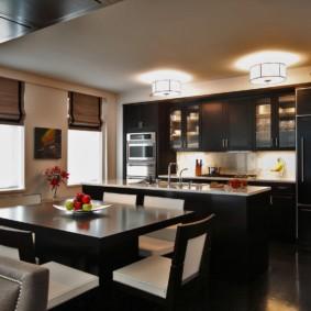 кухня с темным полом виды идеи