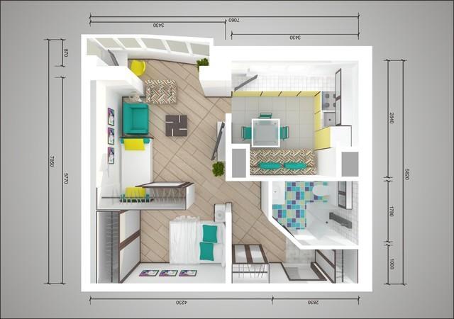 Схема перепланировки однокомнатной квартиры серии 44 т