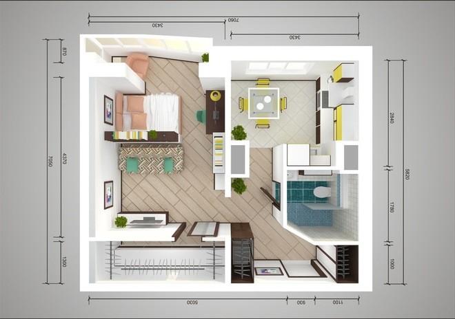 Схема перепланировки квартиры 44 т с одной комнатой