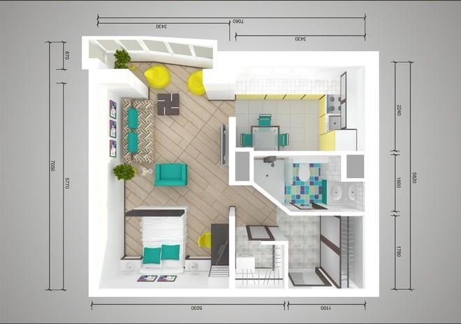 План-схема перепланировки однокомнатной квартиры в панельном доме