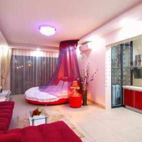 Интерьер квартиры-студии для романтической девушки