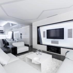 Хай-тек в дизайне квартиры студии