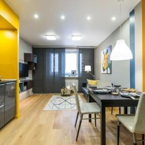 Зонирование цветом квартиры студии