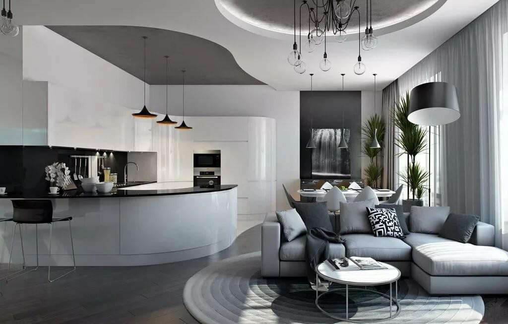 Интерьер современной квартиры-студии в стиле хай-тек