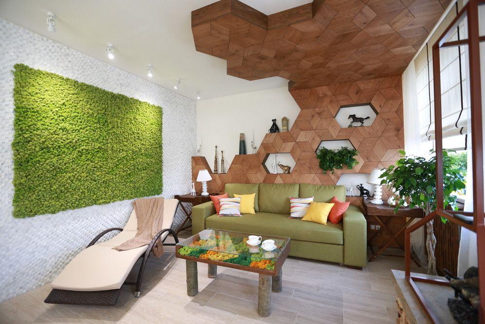 Современная гостиная квартиры в экостиле