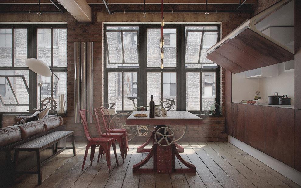 Интерьер квартиры холостяка в индустриальном стиле