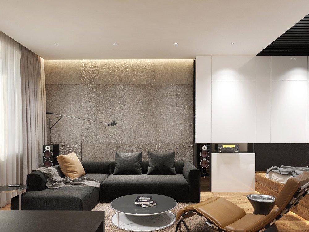 Серый диван в квартире холостяка современного стиля