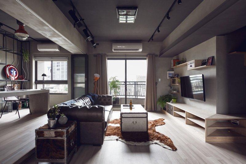 Интерьер квартиры для холостяка в стиле брутализма