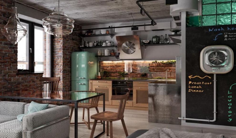Квартира-студия для холостяка в стиле лофт