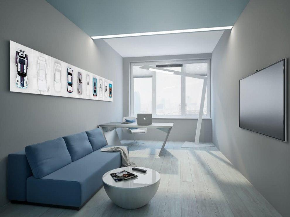 Узкая комната в стиле минимализма в двухкомнатной квартире холостяка