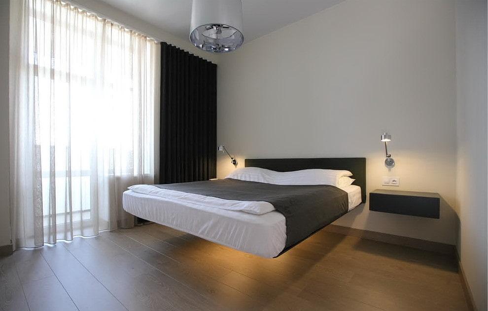 Кровать без ножек в интерьере современной спальни
