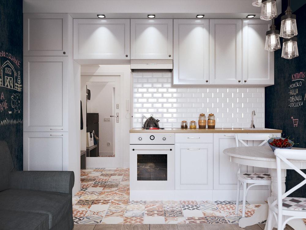 Линейная кухня в небольшой квартире-студии