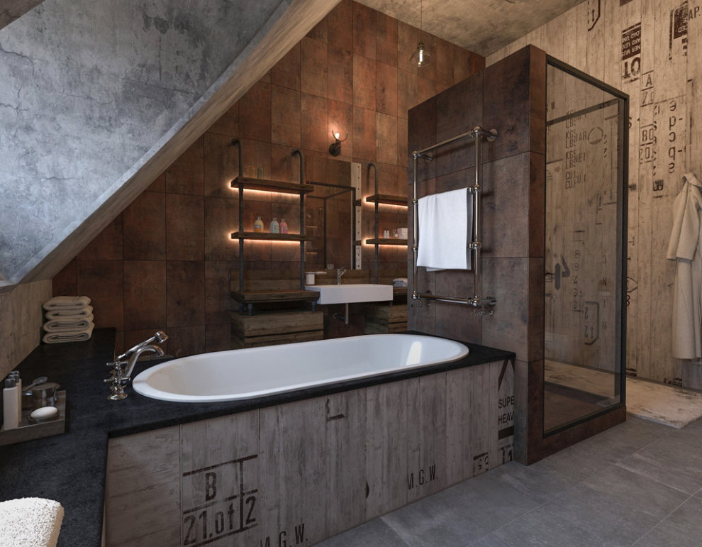 Индустриальный лофт в интерьере санузла в мансарде