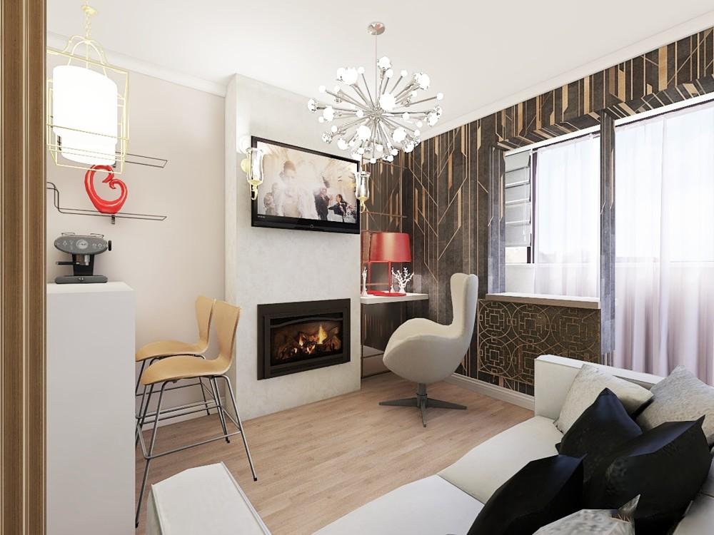 Дизайн квартиры студии с балконом и барной стойкой