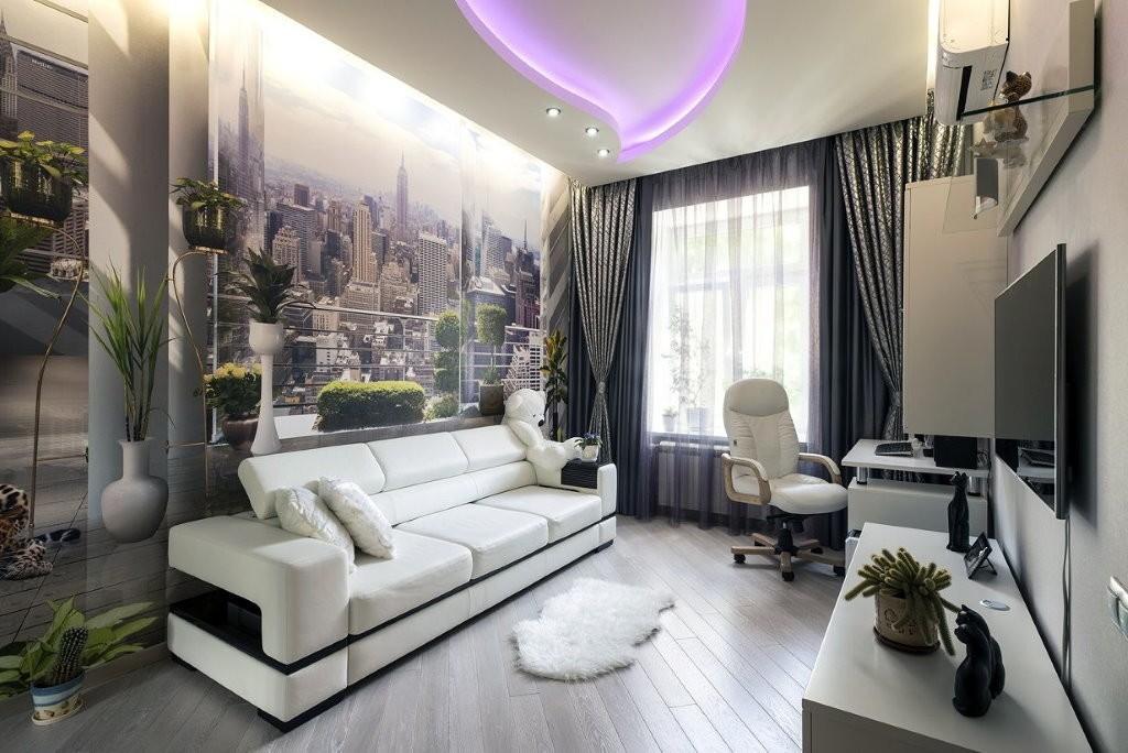 Фотообои на стене комнаты в стиле хай тек