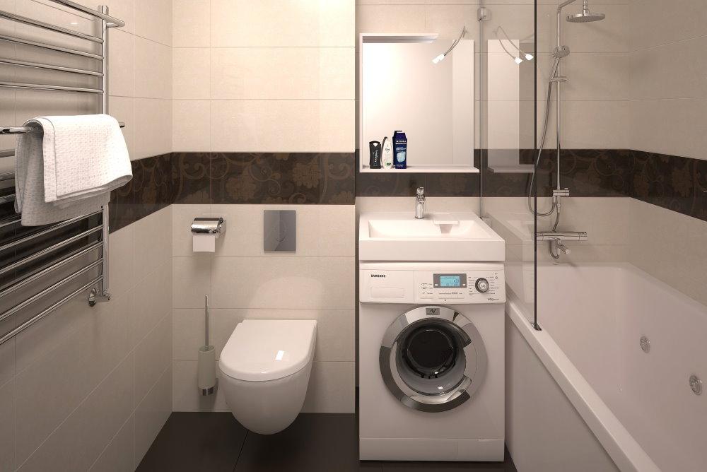 Умывальник на стиральной машине в ванной комнате