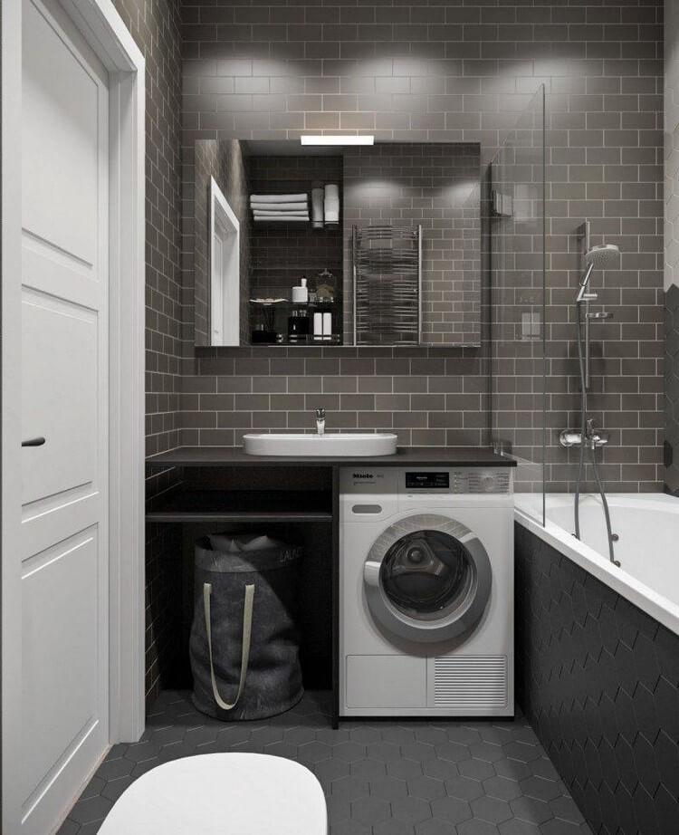 Интерьер ванной комнаты со стиральной машинкой
