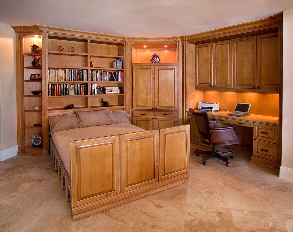 Деревянный гарнитур для спальни с рабочим местом