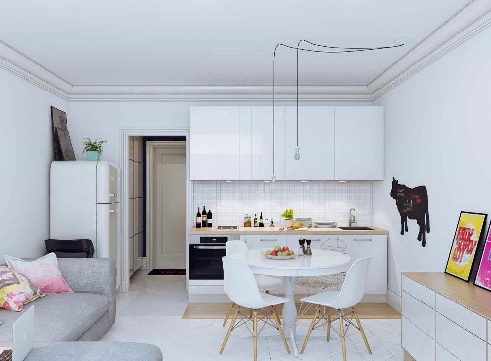 Светлая мебель в квартире студии 26 кв метров