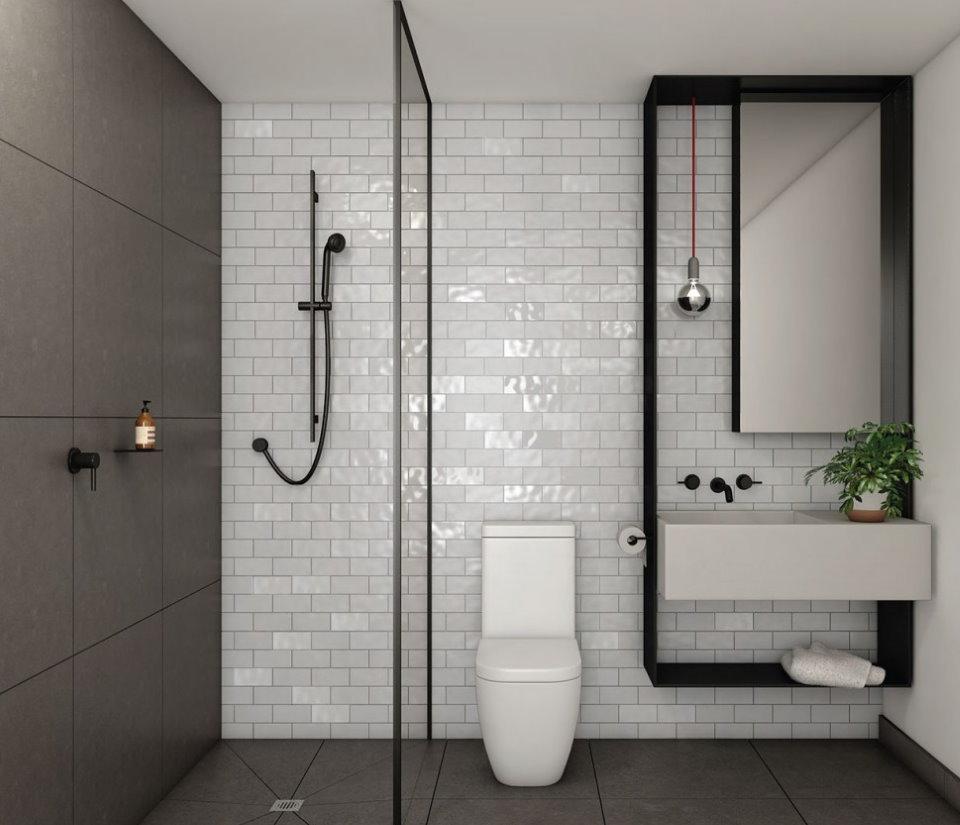 Душевая кабина в ванной стиля минимализм