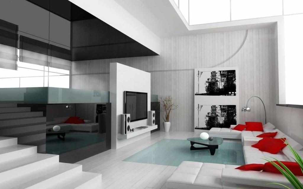 Просторная гостиная в стиле модерн