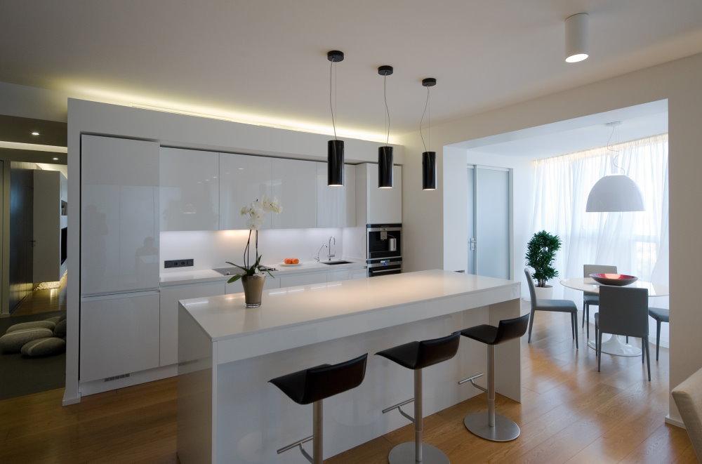 Кухонный остров в квартире-студии стиля модерн