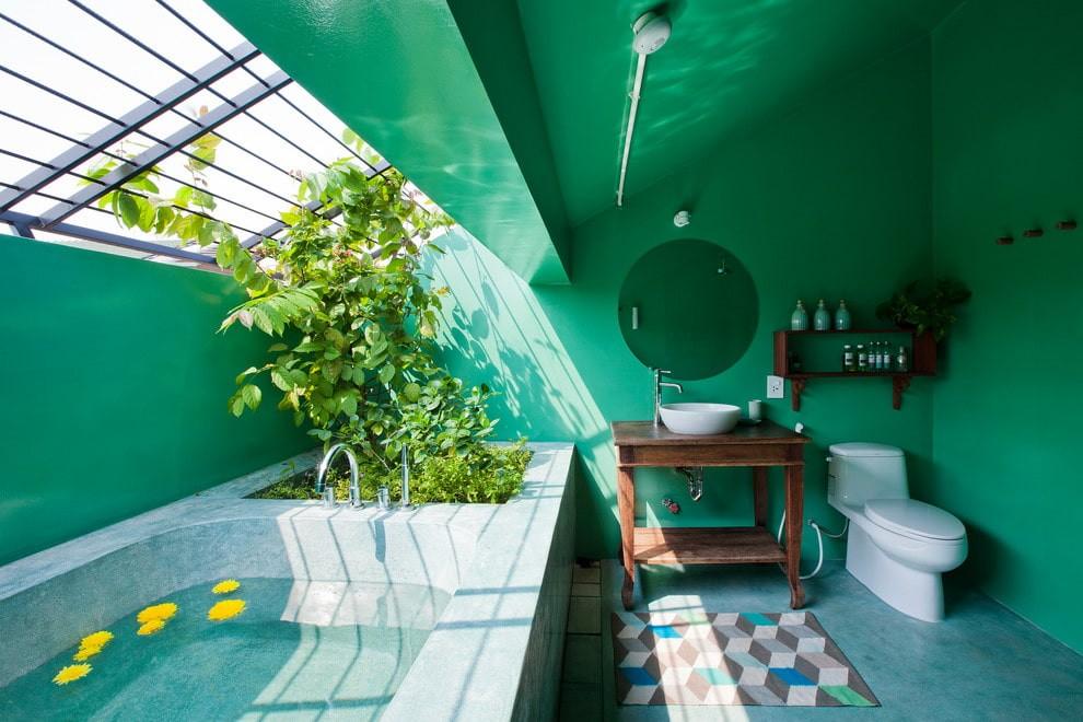 Зеленые стены в ванной частного дома