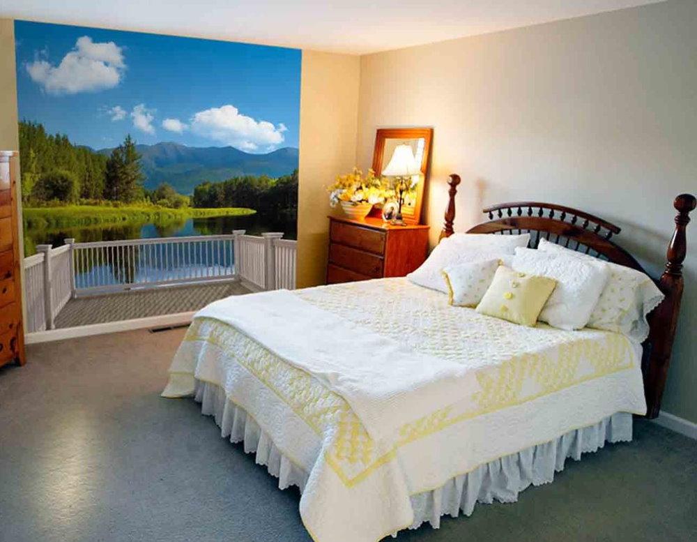 Маленькая спальня с красивыми фотообоями
