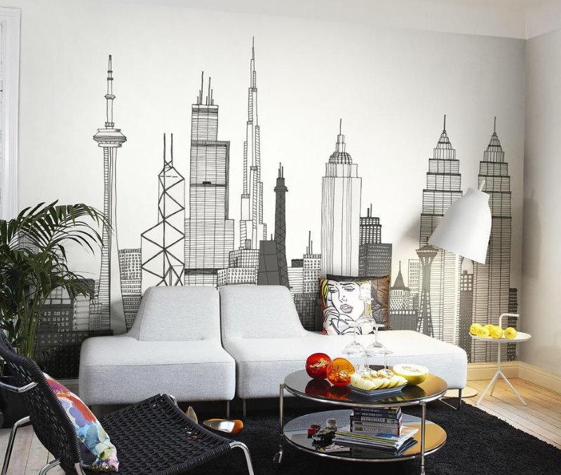 Нарисованные высотки на белой стене гостиной