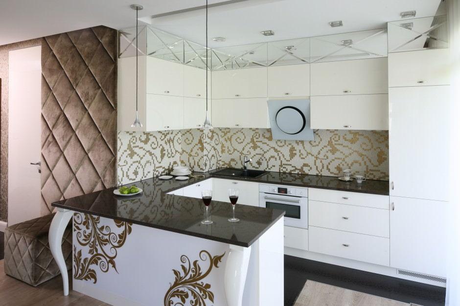 Светлая кухня в стиле арт-деко