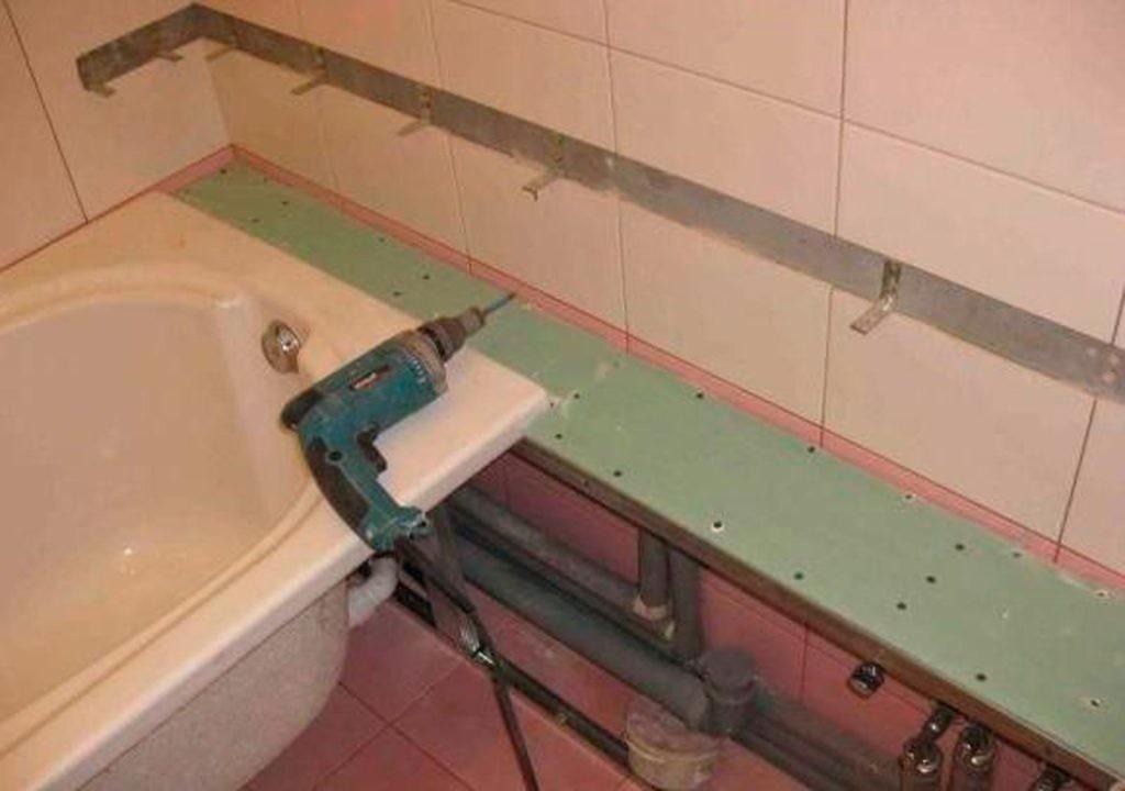 Полка из гипсокартона над трубами в ванной комнате своими руками
