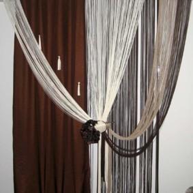 нитяные шторы на кухне фото декора