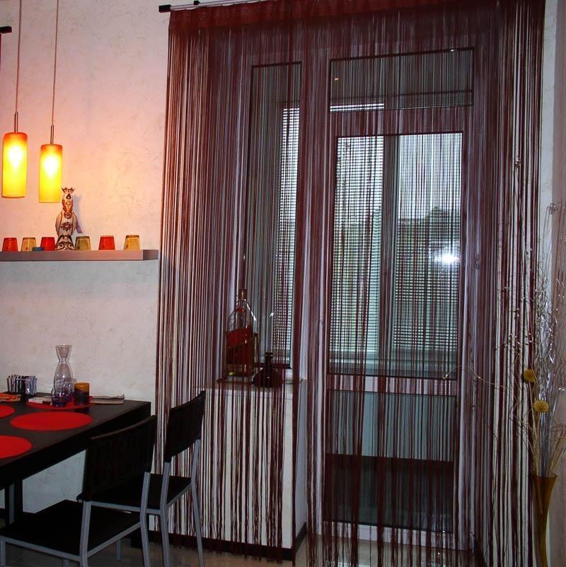 нитяные шторы на кухне фото дизайна