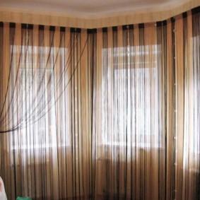 нитяные шторы на кухне фото идеи