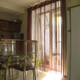 нитяные шторы на кухне идеи декор