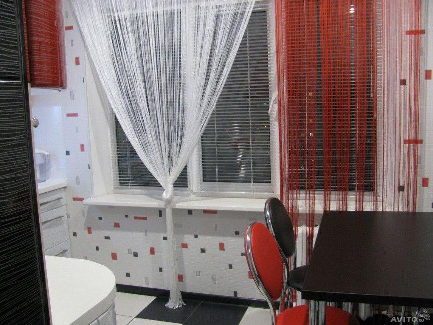 нитяные шторы на кухне идеи фото